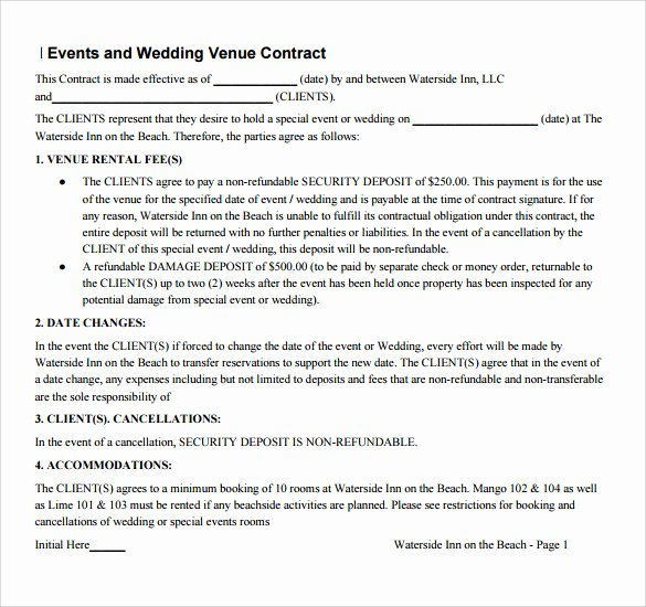 Venue Rental Agreement Template Fresh 14 Vendor Contract Templates – Samples Examples & format