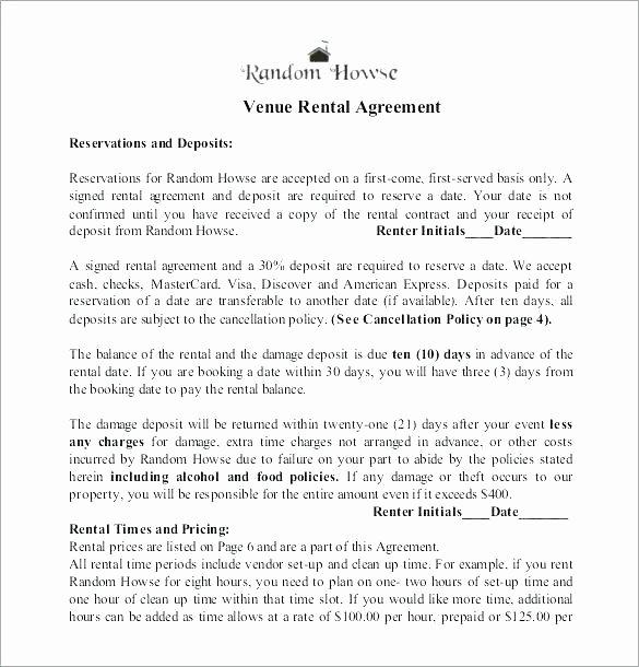 Venue Rental Agreement Template Inspirational event Space Rental Agreement Template Fice Lease Free
