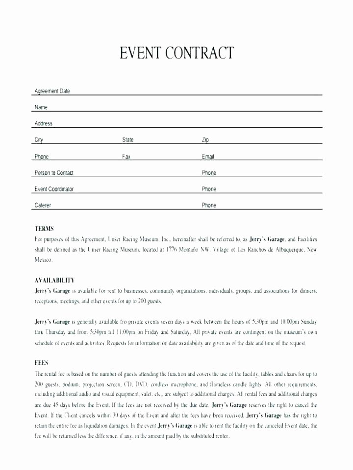 Venue Rental Agreement Template Lovely Venue Rental Contract Template Free – Hydrellatonefo