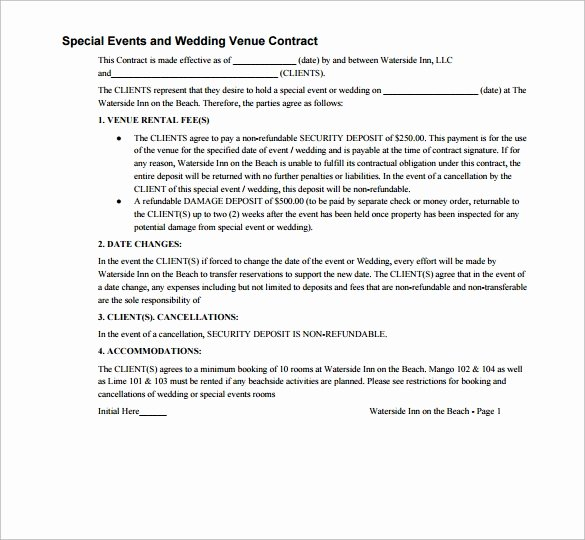 Venue Rental Agreement Template Unique 20 Wedding Contract Templates to Download