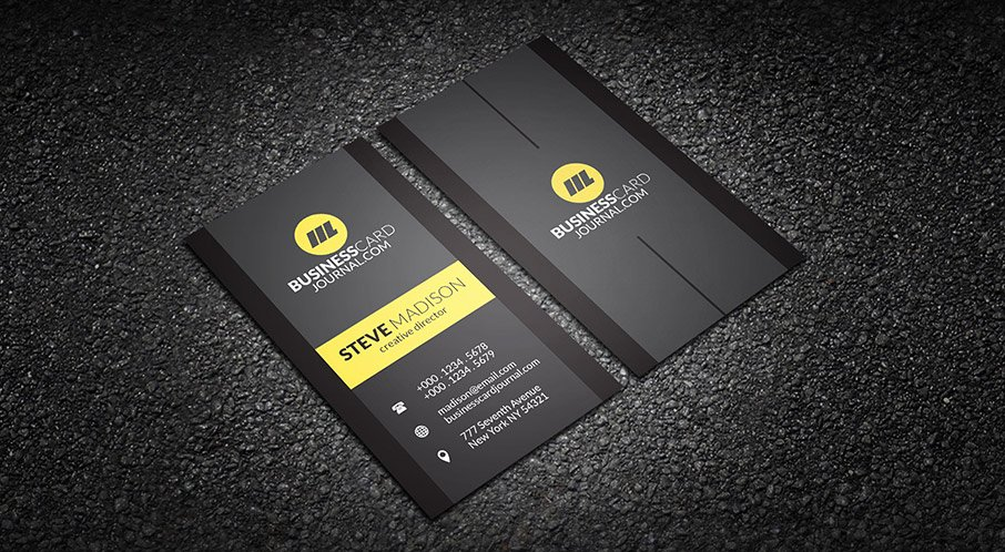 Vertical Business Card Template Beautiful Free Contrasting Yellow Vertical Business Card Template