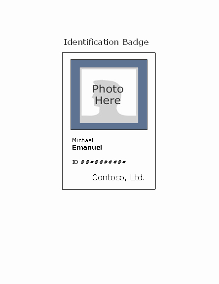 Vertical Name Badge Template Awesome Employee Photo Id Badge Portrait