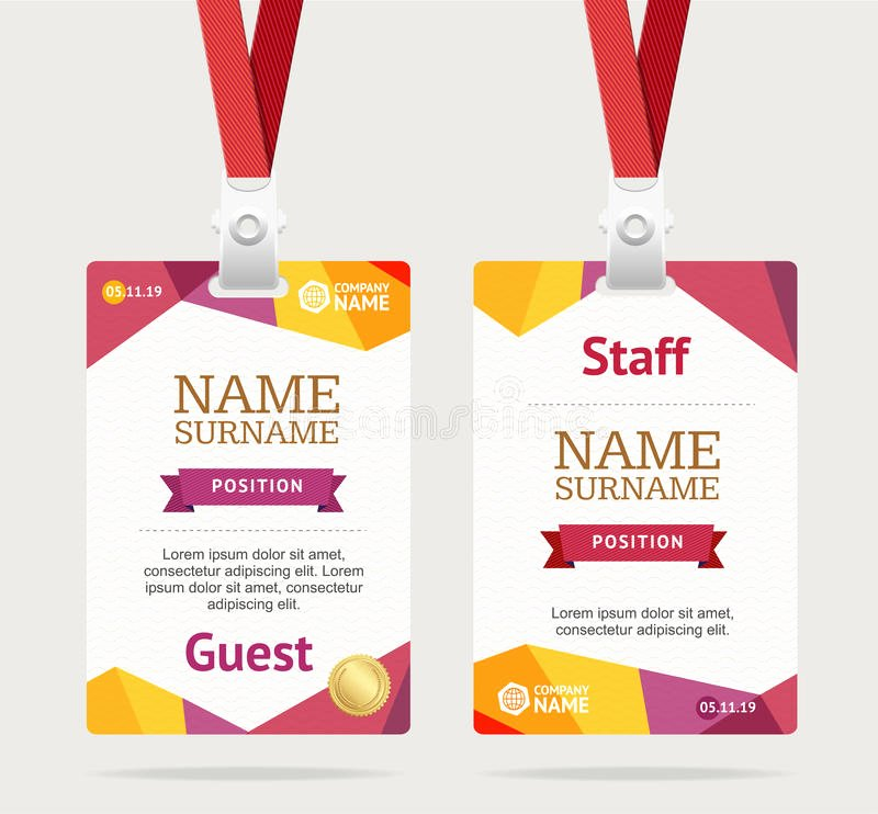 Vertical Name Badge Template Awesome Id Card Template Plastic Badge Vector Stock Vector