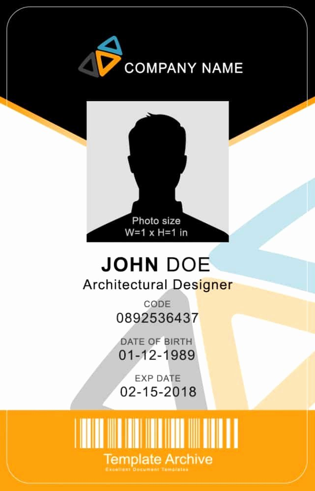 Vertical Name Badge Template Elegant 16 Id Badge & Id Card Templates Free Template Archive