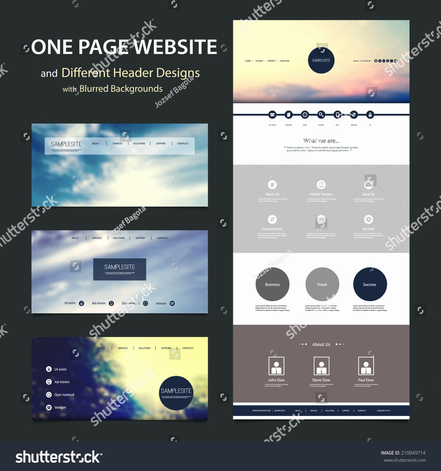 Video Background Website Template Best Of E Page Website Template Different Header Stock Vector