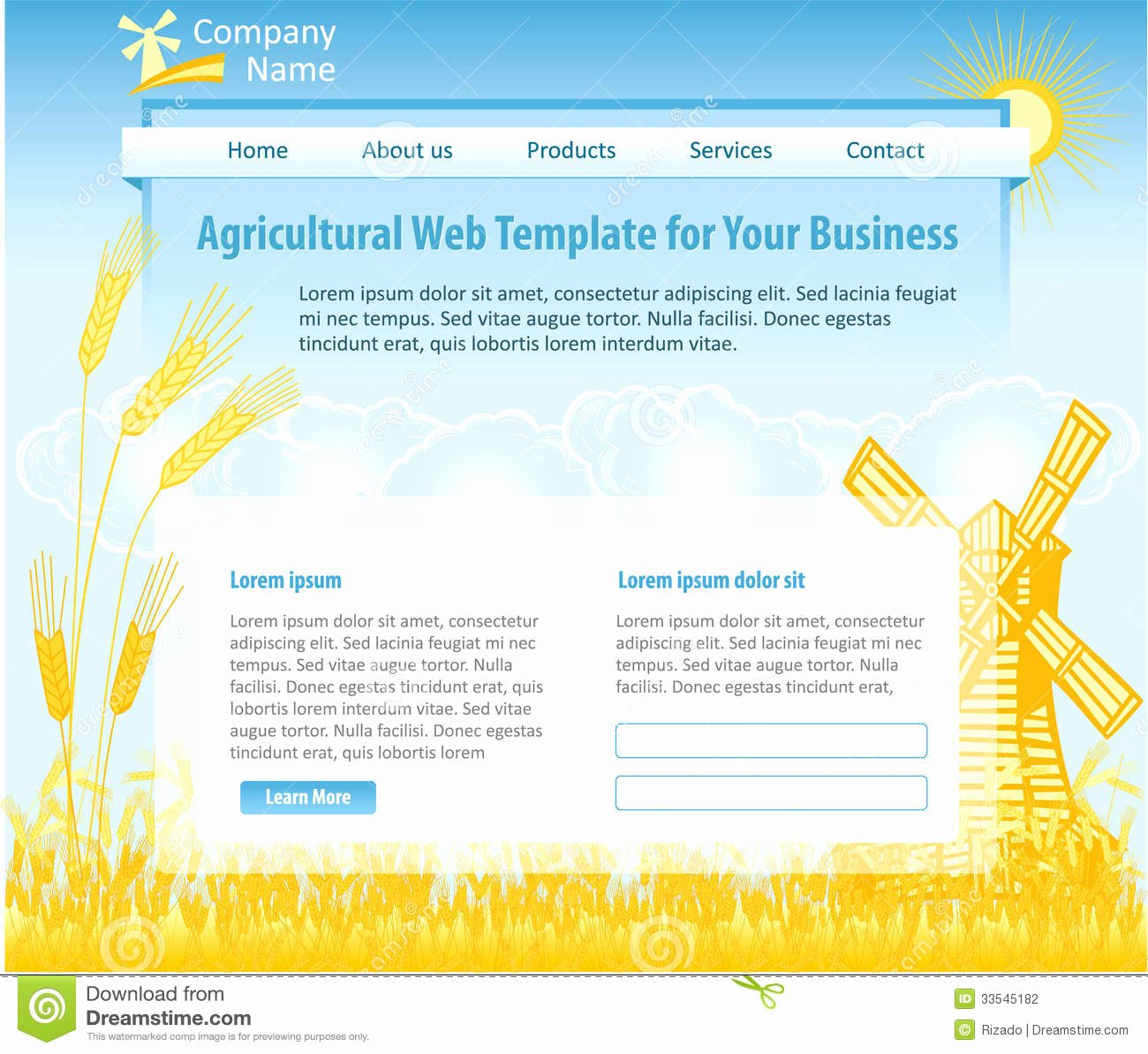 Video Background Website Template New Agriculture theme Web Design Template Stock Graphy
