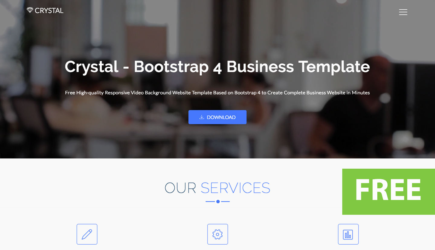 Video Background Website Template New Crystal Free Bootstrap Video Background Website Template