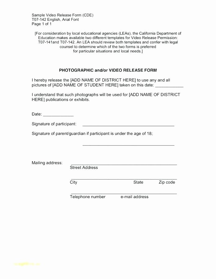 Video Consent form Template Inspirational Model Consent form Template