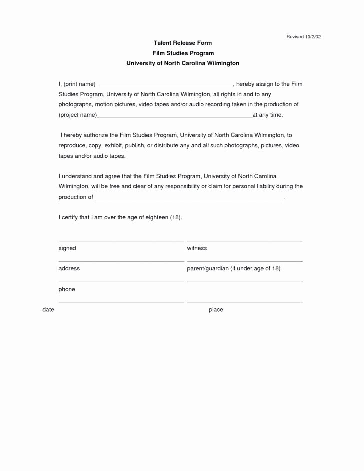 Video Consent form Template Lovely Video Release Template New Footage Release form Template