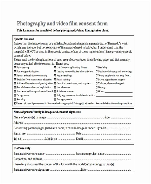 Video Consent form Template New Consent form Templates