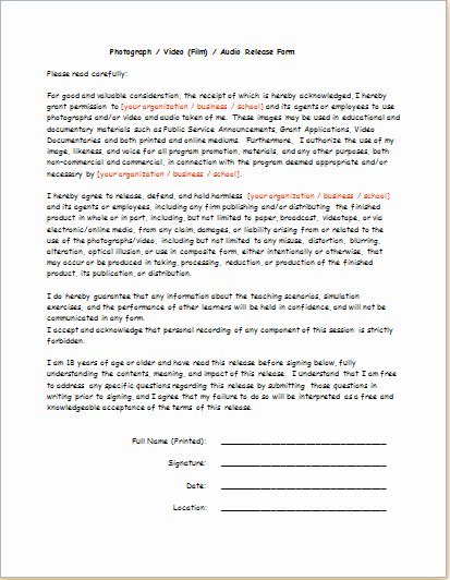Video Consent form Template New Video Audio Release form Consent form