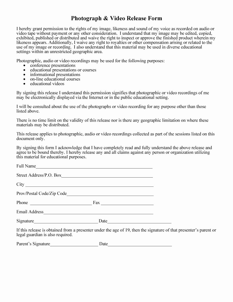 Video Consent form Template Unique 53 Free Release form Templates [word Pdf]
