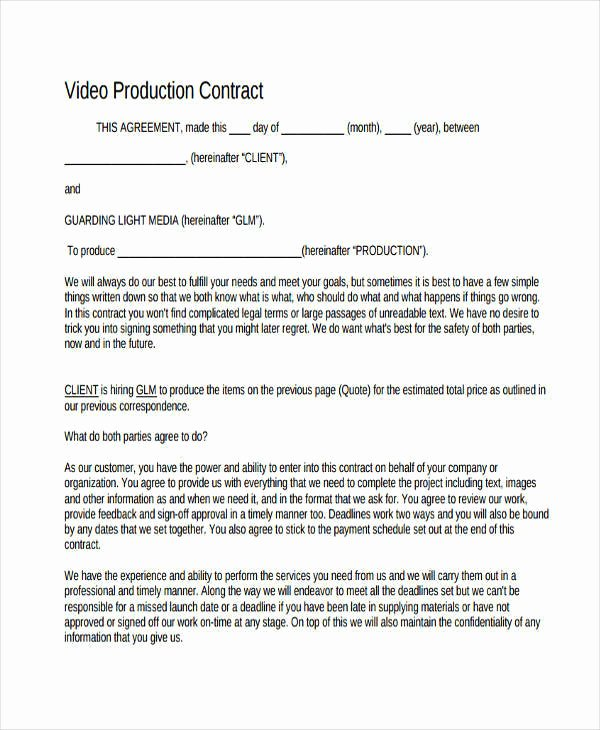 Video Production Contract Template Inspirational 7 Production Contract Samples & Templates