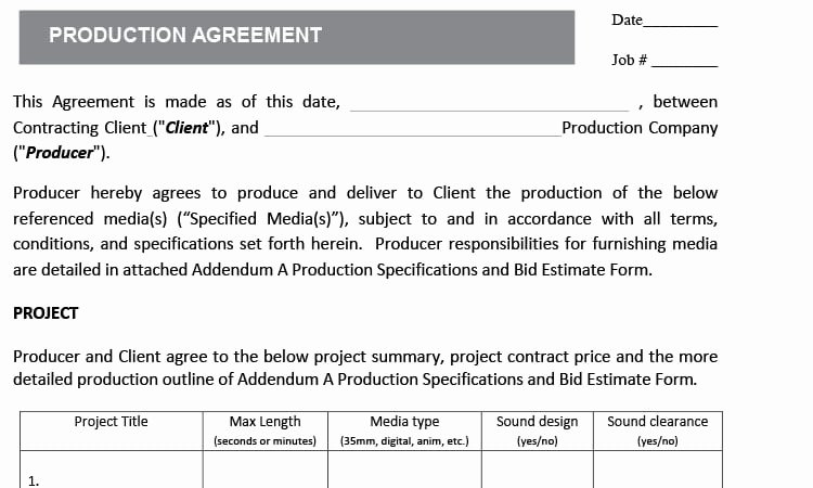Video Production Contract Template Unique Video Production Contracts
