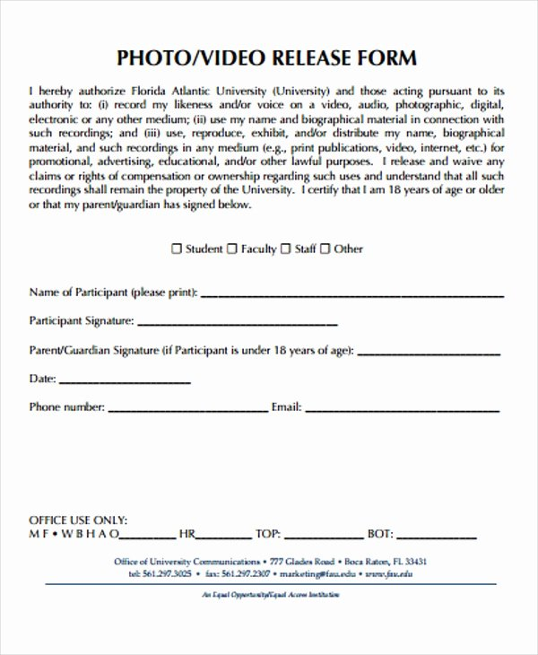 Video Release forms Template Fresh 21 Print Release form Templates