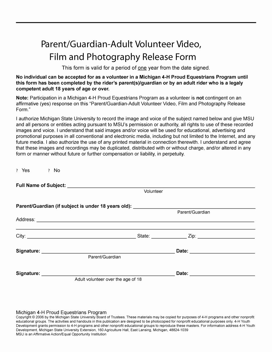 Video Release forms Template Fresh 53 Free Release form Templates [word Pdf]