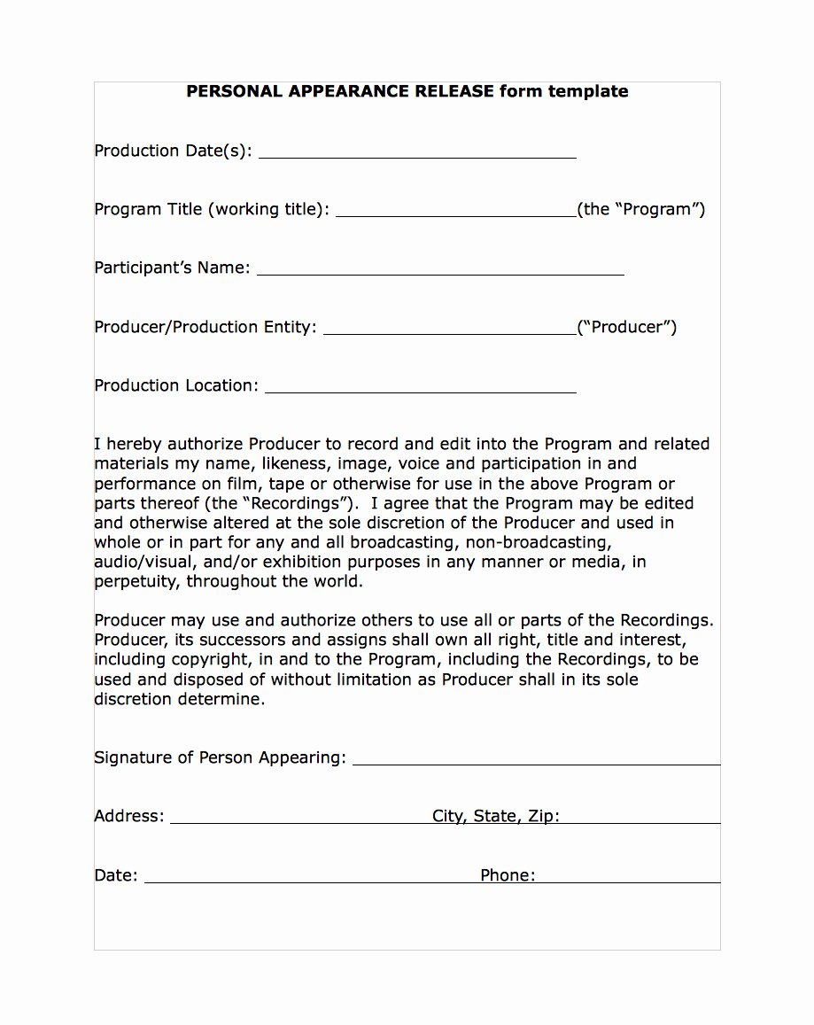 Video Release forms Template Luxury Free Media Liability Release form Word Pdf Eforms Video