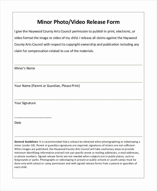 Video Release forms Template Luxury New Graphy Permission form Template – Free Template