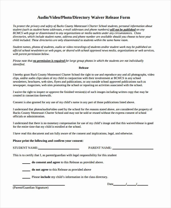 Video Release forms Template Luxury Release form Templates