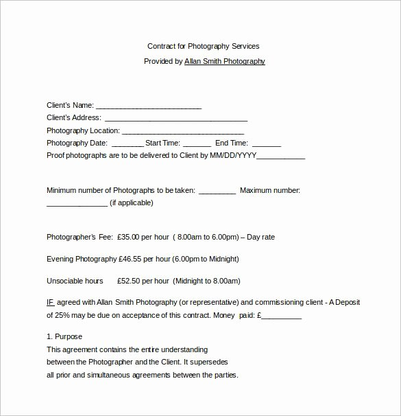 Videography Contract Template Free Awesome Contract for Graphy Services Word Free Download