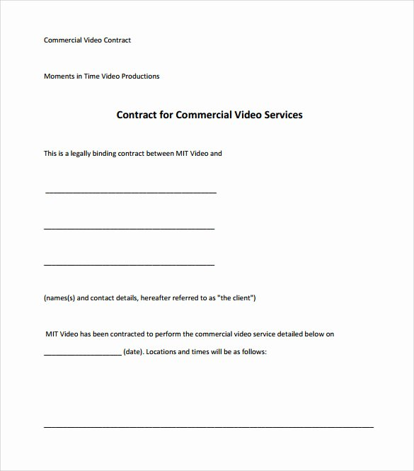 Videography Contract Template Free Awesome Videography Contract Template 9 Download Free Documents