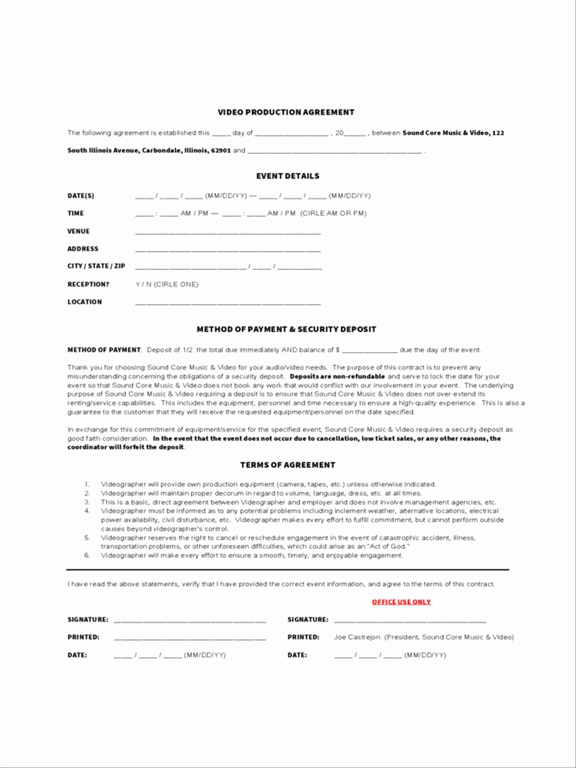 Videography Contract Template Free Best Of 98 Free Wedding Videography Contract Template