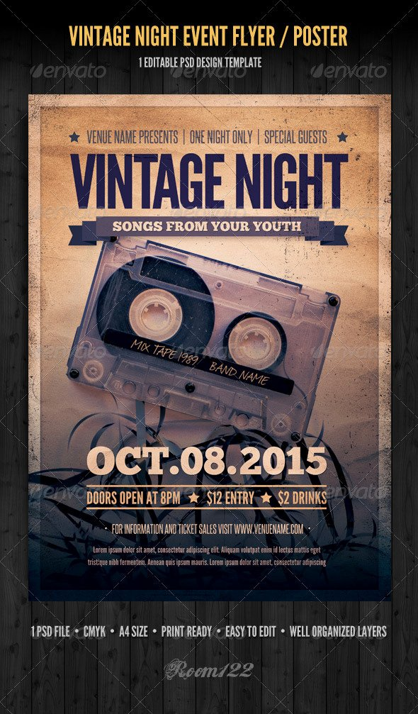 Vintage Concert Poster Template Awesome Vintage Night event Flyer Poster by Graphicmonkee