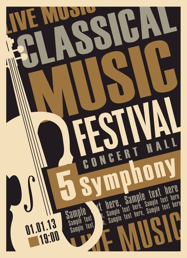 Vintage Concert Poster Template Best Of Classical Music Retro Concert Poster Template 04 Vector