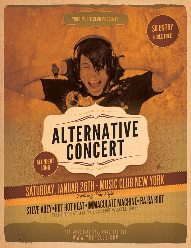 Vintage Concert Poster Template Elegant Alternative Concert Flyer Template Vandelay Design