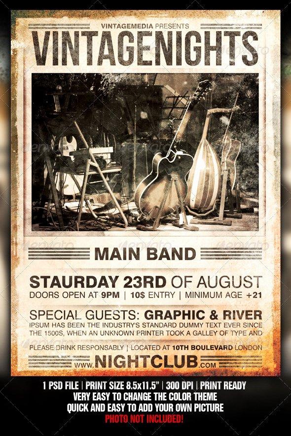 Vintage Concert Poster Template Fresh Vintage Concert Flyer by Fadeink