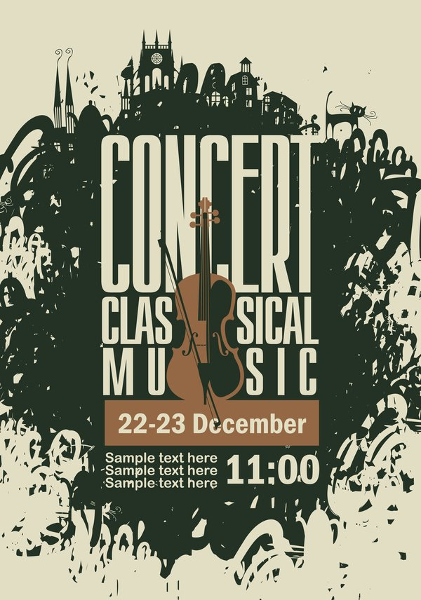 Vintage Concert Poster Template Inspirational Classical Music Retro Concert Poster Template 05 Vector