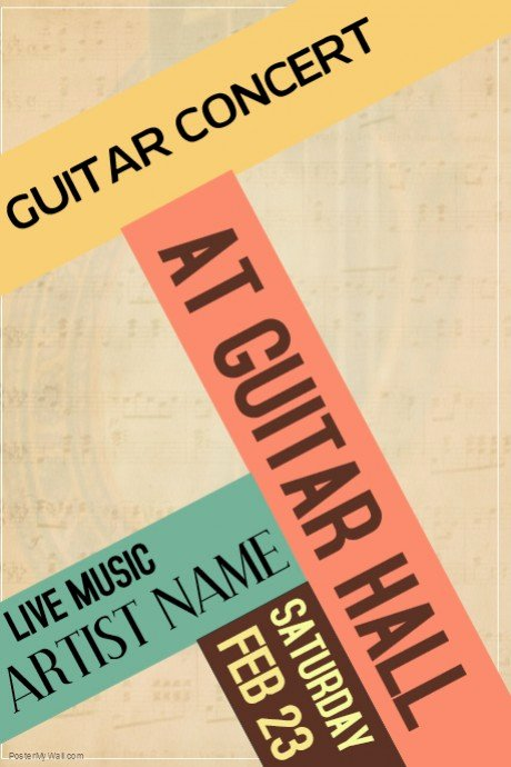Vintage Concert Poster Template Inspirational Guitar Concert Vintage Retro Colors Live Concert Poster