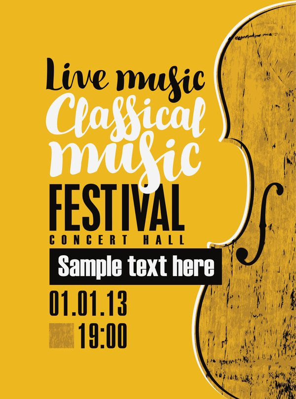 Vintage Concert Poster Template New Classical Music Retro Concert Poster Template 13 Vector