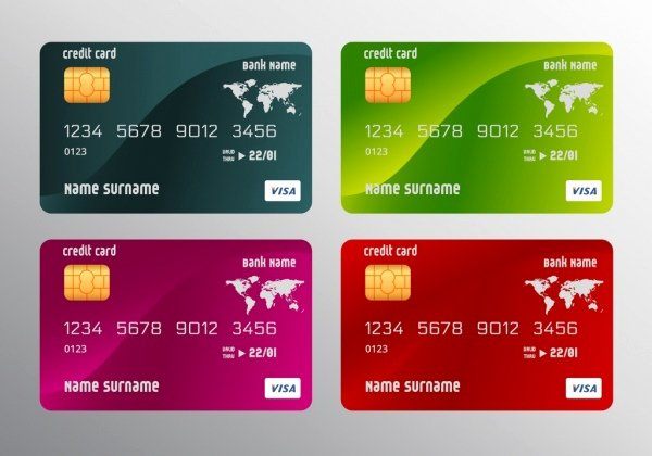 Visa Credit Card Template New Credit Card Templates Realistic Multicolored Design Free