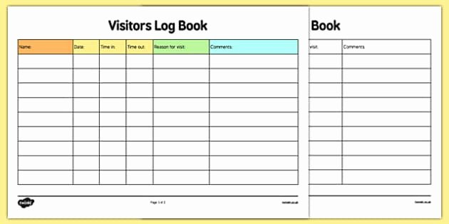 Visitor Log Book Template Awesome Childminder Visitors Log Book Childminding Childminder