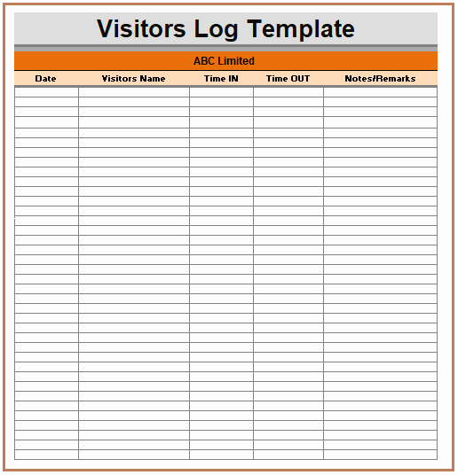 Visitor Log Book Template Best Of All Such Visitor Log Templates are Logs which Keep the