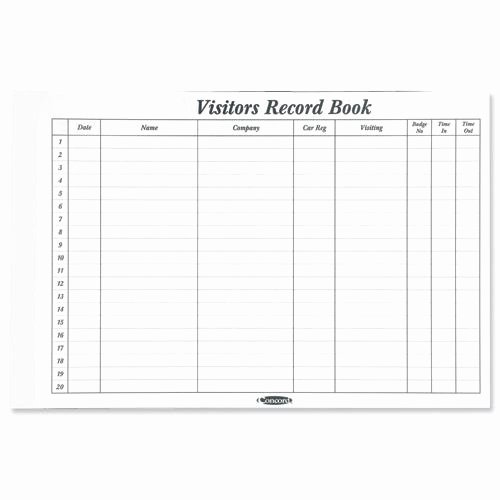 Visitor Log Book Template Unique Buy Concord Cd14p White 50 Sheet Refill for Visitors Book