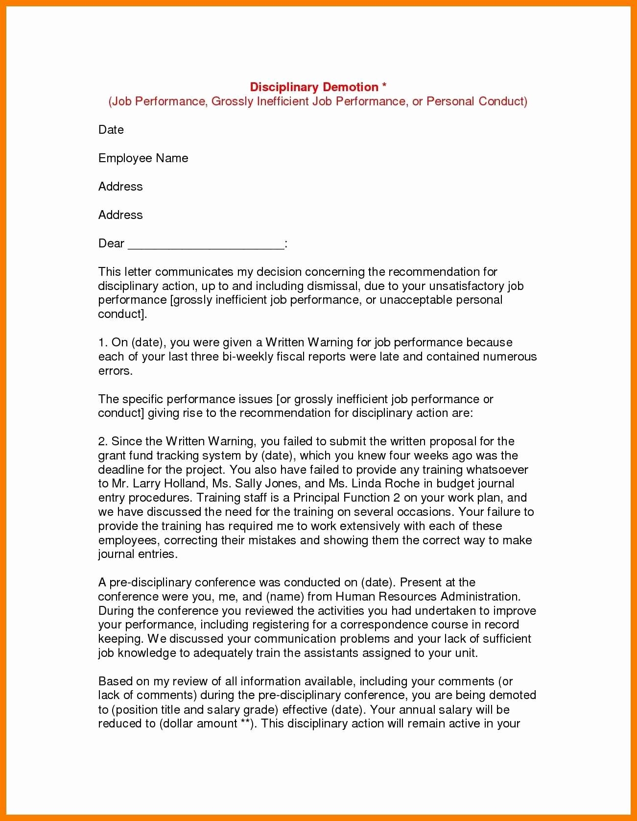 Voluntary Demotion Letter Template New 9 10 Demoted Letter