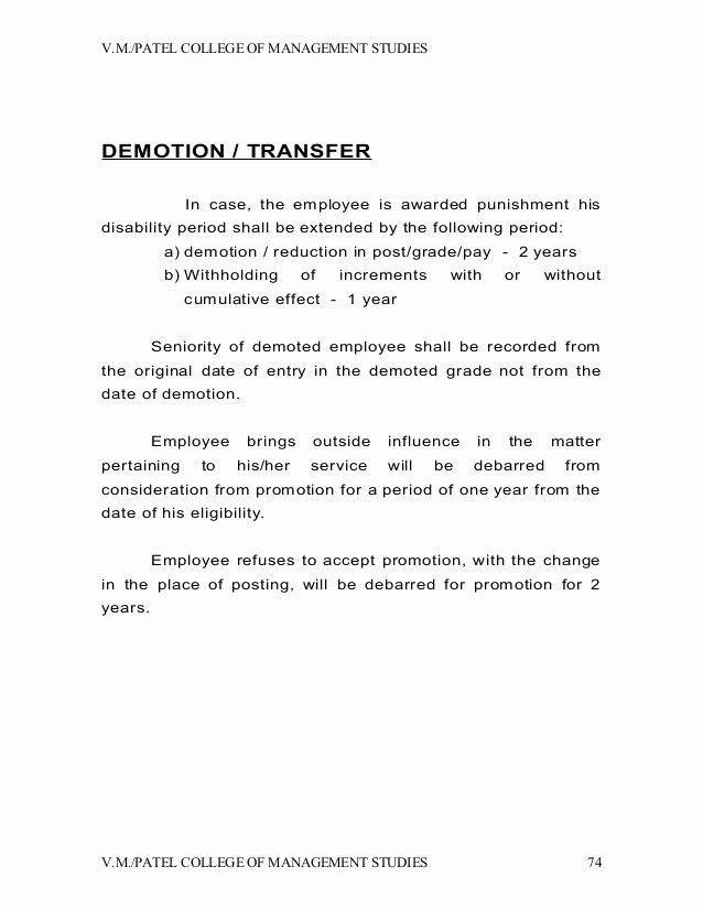 Voluntary Demotion Letter Template Unique Demotion Letter to Employee