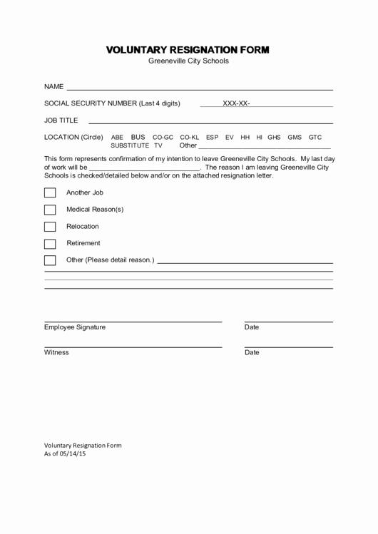 Voluntary Resignation form Template Beautiful Voluntary Resignation form Printable Pdf