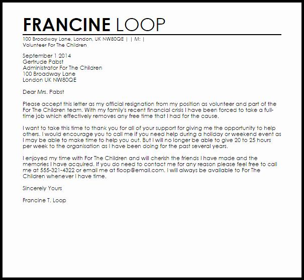 Voluntary Resignation form Template Beautiful Volunteer Resignation Letter Example