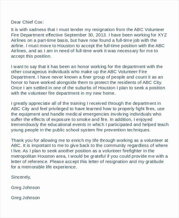 Voluntary Resignation form Template Inspirational Volunteer Resignation Letter Template 6 Free Word Pdf