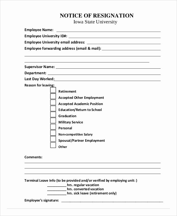 Voluntary Resignation form Template Luxury Voluntary Quit Notice Image Collections Download Cv