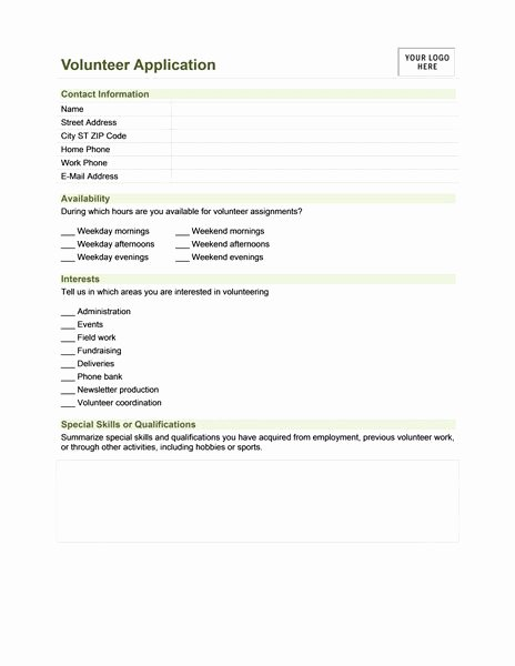 Volunteer Application form Template Beautiful 12 Best Microsoft Medical forms Images On Pinterest
