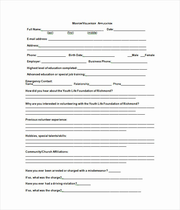 Volunteer Application form Template Beautiful Application Template 18 Free Word Pdf Documents Download