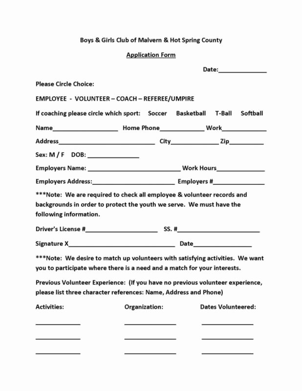 Volunteer Application form Template Beautiful Volunteer form Template