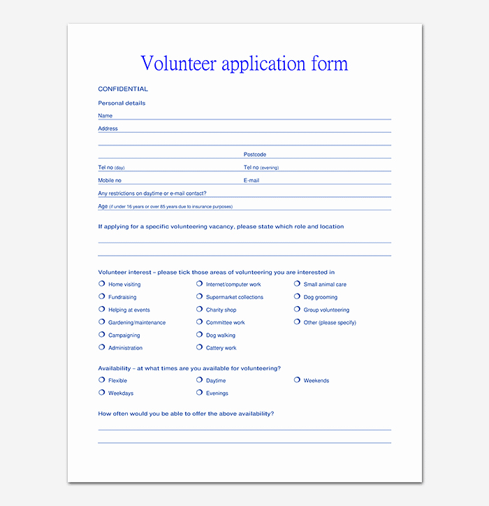 Volunteer Application form Template Best Of Volunteer Application Template 20 forms Doc & Pdf format