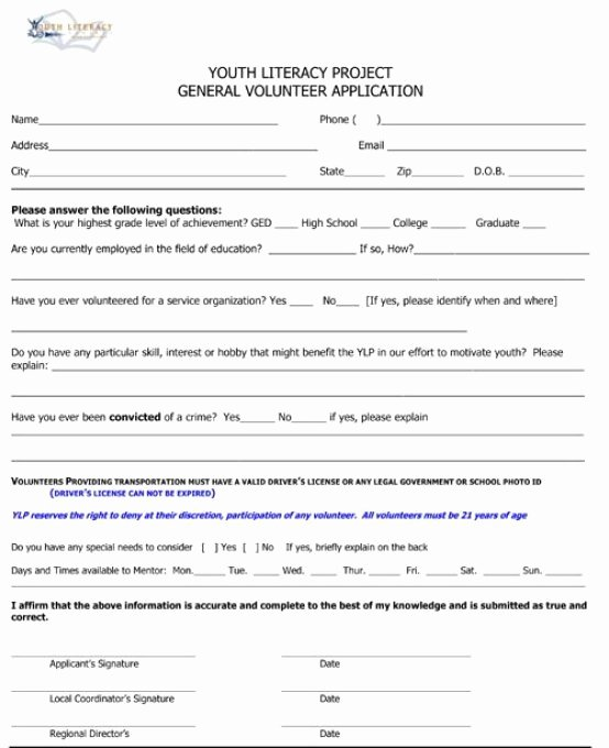 Volunteer Application form Template Best Of Volunteer Application Templates Word Excel Samples