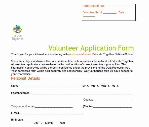 Volunteer Application form Template Elegant Volunteer Application form