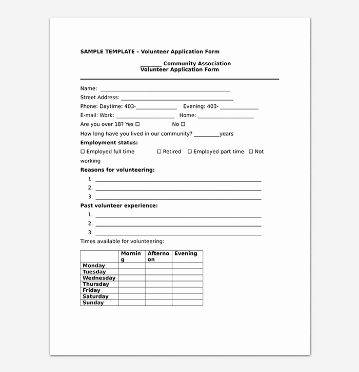 Volunteer Application form Template Inspirational Volunteer Application Template 20 forms Doc & Pdf format